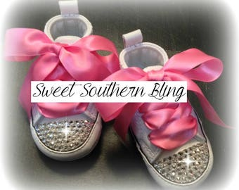 White & Pink Baby Bling Converse Crib Shoes