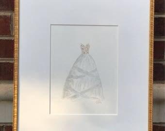 Wedding dress watercolor painting