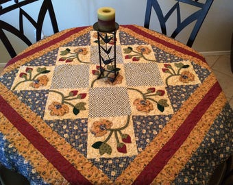 Handmade floral wall hanging or table cover, 56' (w) x 55' (h)