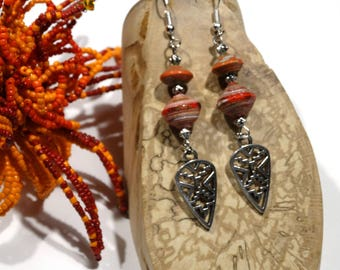 Dangling earrings red orange silver ethnic beads - gift idea for woman