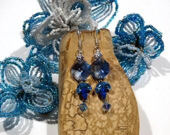 Blue Silver earrings 925 Sterling and dangling Swarovski Crystal