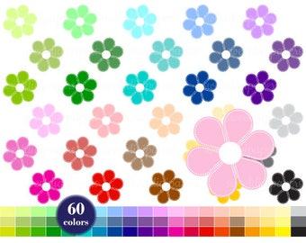 Flower Clipart, Rainbow Clip Art, Planner Clipart, Colors Flower, Baby Shower, Flower Printable, Digital Clipart
