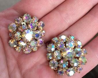 Vintage Aurora Borealis Rhinestone Gold Tone Clip Earrings