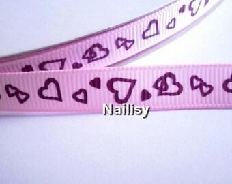 1 meter of 12 heart pattern Ribbon