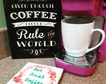 Coffee coaster, tea coaster, gift, coffee, tea, drinks, coaster, hand painted coaster