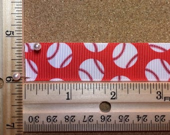 Red with White Baseballs 7/8 inch Grosgrain Ribbon