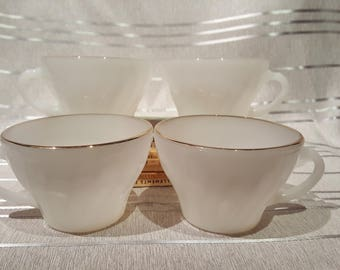 Vintage Anchor Hocking Milk White Glass with Gold Rim Edge Coffee Cups set of 4