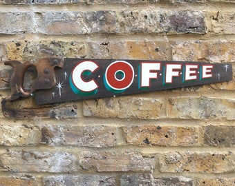 Hand painted saw / vintage / gift ideas / coffee sign