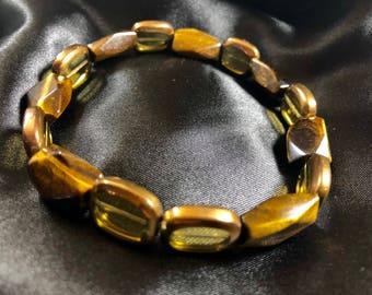 Tiger-eye and Glass beaded bracelets