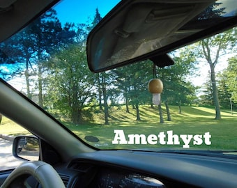 Amethyst mounted on custom made wood for your rear view mirror or interior window, Reiki, Peaceful environment, Amethyst infused w Reiki