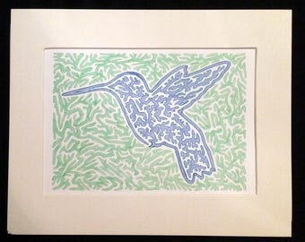 Hummingbird 1.0 - Original Artwork, Blue and Green