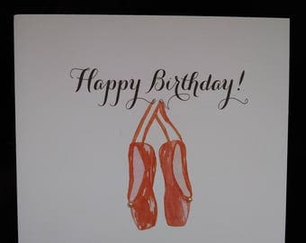 Beautiful ballet design  greeting card - Happy Birthday.