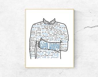 Dear Evan Hansen Musical Silhouette Print | Hand-Lettered | Blue | Digital Download