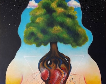 Balance surreal painting, psychedelic art, transparent, woman body, tree of life, heart, original acrylic painting, FREE SHIPPING WORLDWIDE