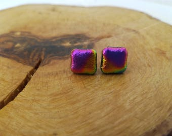 Square studs, Stud earrings, Dainty studs, Post earrings, Glass earrings, Small earrings, Little earrings, Fused glass, Studs, Square