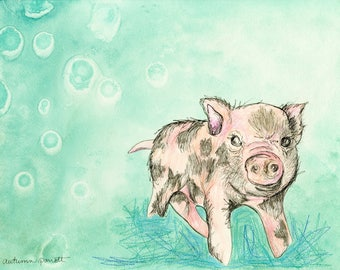 Piglet (original watercolor and ink painting)
