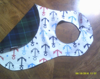 baby bib, bib, anchors, plaid, sewn