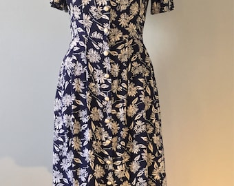 80s does 40s Floral Print Dress, 1940s Blue & White Style Dress, Pearl Button Down, Medium