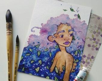 "ORIGINAL ""lilac"" 13x18 cm watercolor illustration"