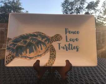 Decorative plate / Turtles / Home decor / Peace Love Turtles