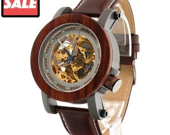 Red Sandalwood&Steel Exposed Mechanical Watch Vintage Bronze Skeleton Clock Male Antique