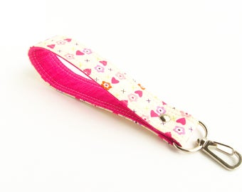 Pink Hearts Wrist Lanyard, Short Lanyard, Floral Key Fob, Short Key Lanyard, Hearts Wrist Keychain, Fabric Key Wristlet, Key Fob Strap