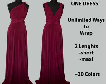 Burgundy wine Bridesmaid dress, burgundy infinity dress, burgundy convertible dress, burgundy multiway dress, party dress, prom dress