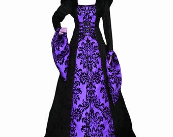Gothic dress, Purple and black dress, prom gown, renaissance gown, medieval hooded dress
