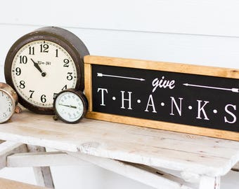 Give Thanks Thanksgiving Wall Home Decor Fixer Upper Sign Signs