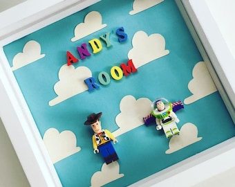Personalised Gift Present Box Frame Toy Story Woody Buzz Light Year Andy's Room Baby Blue Boys Bedroom Nursery Happy Birthday Baby Shower