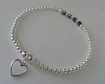 my hematite heart stretch stacking bracelet sterling silver