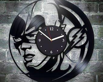 Flash Vinyl Wall Clock, Birthday Gift For Man, New Year Gift For Boy, Xmas Gift, DC Comics, Handmade Gift For Kids, Wall Clock Vintage