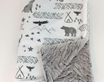 Minky Baby Blanket - Woodland Baby Blanket - Stroller Blanket - Watercolor Baby Blanket - Baby Blanket - Deer Baby Blanket - Bear Blanket
