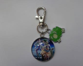 "Jewelry bag/key theme Astrology/Zodiac ""Aries"" 25mm glass cabochon silver metal."