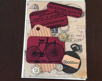 Bicycle Themed Vintage style Card, Happy Birthday, Handmade, Multi-layered, Goodtimes, Travel, Beige, Red,cards for him,