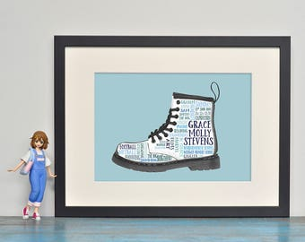 Dr Martens Boot Personalised Word Art Print or Canvas, Doc Martens Customised Typographic Print, Birthday, Boy, Girl, Teenager Gift
