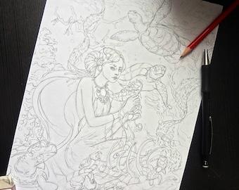 Original Illustration Sketch Ocean