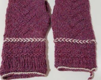 Hand Knit Burgundy and Cream Mittens