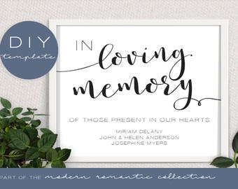 Wedding In Memory Sign - Modern Romantic Collection - In Memory Sign - DIY Printable Black and White
