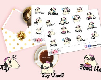 Cute Pug Dog Sticker, Dog Activity Planner Sticker, Pug Planning Sticker, 12 Pug Stickers, Scrapbook Sticker, Planner Stationary Accessory