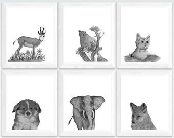 Zoo animals printables, cute safari animals, zoo animals wall art,  animal prints for framing, set of 6 prints animals, baby animal pictures
