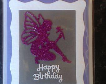 Handmade birthday card, fairy design