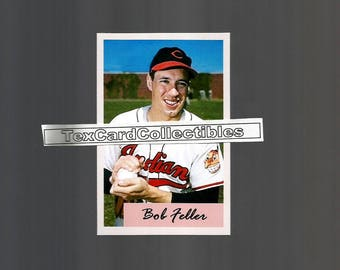 Bob Feller Cleveland Indians New, Custom Made 1954 Bowman Style Baseball Card.  3 3/4 x 2 1/2.  Mint Condition.