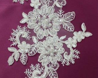 Ivory Lace applique, Beaded lace applique, French Chantilly lace applique, 3D lace, bridal lace applique M0014