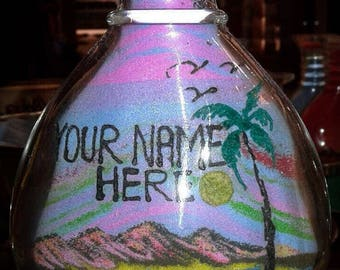 Customize Hand Made Sand Bottle Art - Made to order with your customization