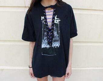 Oversized Lace Up Band Tee shirt