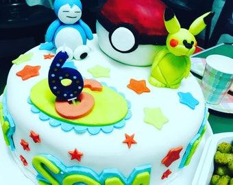 Edible pokemon cake topper handmade from fondant