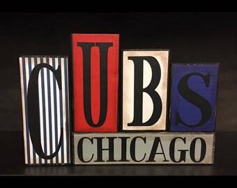 Chicago Cubs Wood Block Set