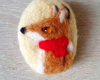 Fox felt brooch/fox brooch/fox pin/fox needlefelt/fox cute/fox felt accessories