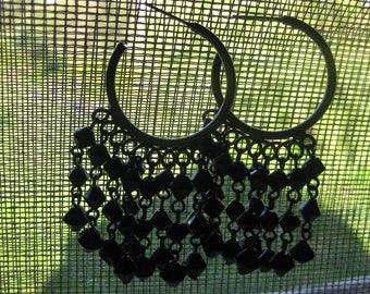 gypsy hoop fringe earrings